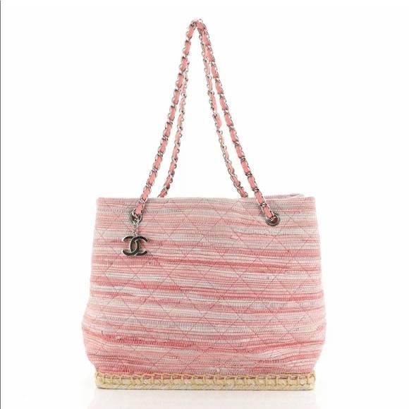 Chanel Pink Raffia Tweed Tote Bag Medium